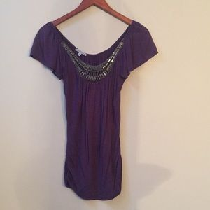 Charlotte Russe beaded, purple, flutter sleeve top